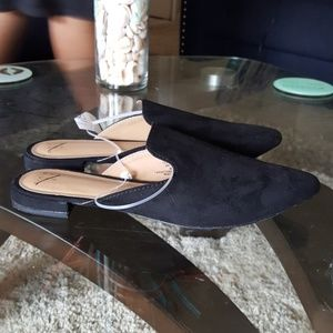 Black slide on pointed toe faux suede loafer mules